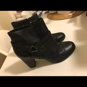 Cole Haan real leather black buckle booties- New!